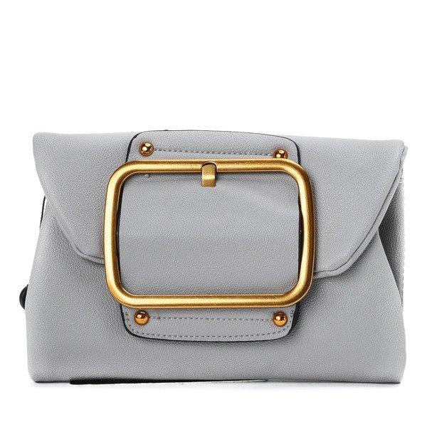 7ce23e1c008 Mała torebka na ramię w kolorze szarym z klamrą w kolorze miedzianym -  Torebki