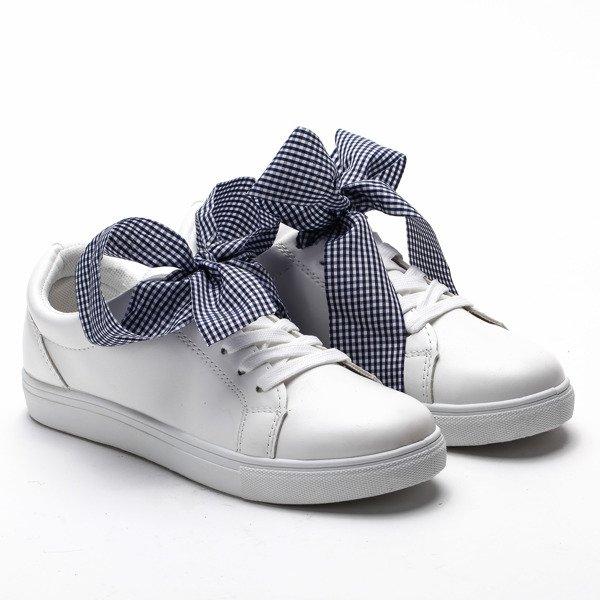 deaea7ec75c66 Białe, sportowe buty z kokardą Alice - Obuwie Kliknij, aby powiększyć ...