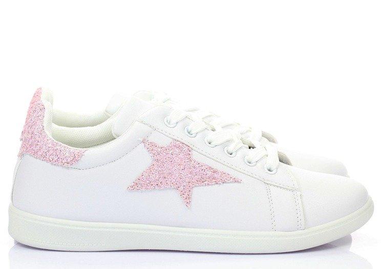 d20ea88a6fe74 Biało-różowe trampki z gwiazdką Mazonie - Obuwie - | Royalfashion.pl ...