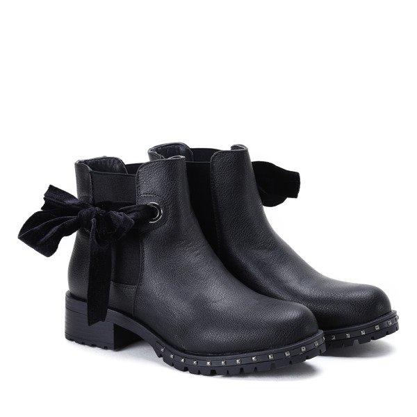 90561d95349b5 Czarne botki z kokardką Aimee - Obuwie -   Royalfashion.pl - sklep z ...