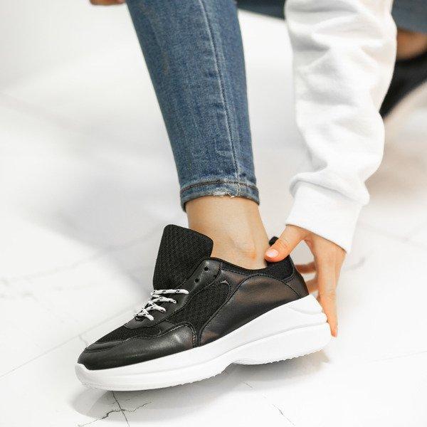 a86e73eaaf088 Czarne buty sportowe na grubej podeszwie Hailey - Obuwie Kliknij, aby  powiększyć ...