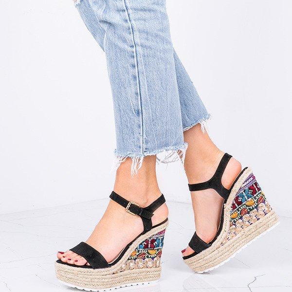 ff978291 Czarne sandały na koturnie z ozdobą Harriet - Obuwie Kliknij, aby  powiększyć ...