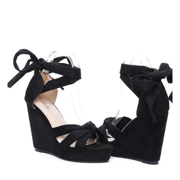 ada16939 ... Czarne sandały na koturnie Matilda- Obuwie Kliknij, aby powiększyć ...