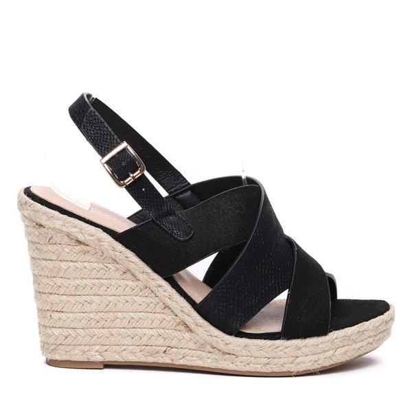 6a74842b Czarne sandały na koturnie - Obuwie - Czarny | Royalfashion.pl ...