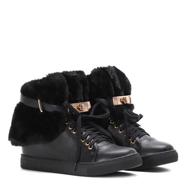 99d85af468fef Czarne sneakersy z futerkiem na krytym koturnie LU BOO- Obuwie ...