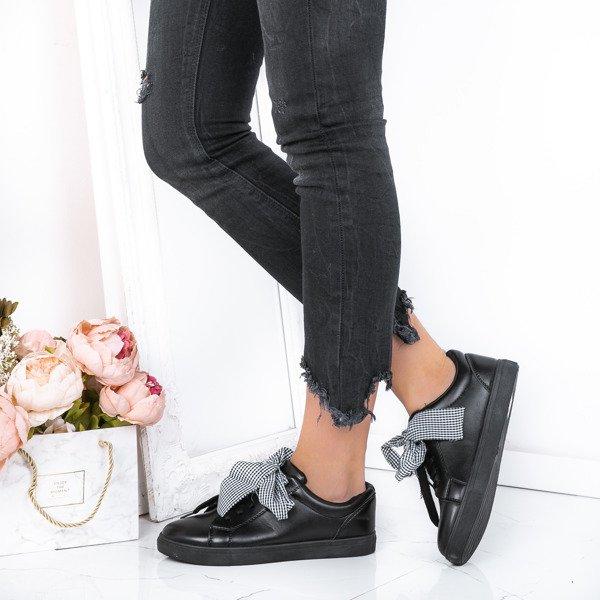 803fc44c3073f Czarne, sportowe buty z kokardą Alice - Obuwie Kliknij, aby powiększyć ...