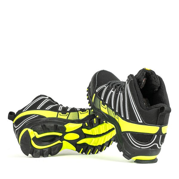 Czarne sportowe damskie buty trekkingowe z neonową wstawką Everest Obuwie