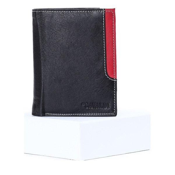 e2b6db0da9446 Czarno - czerwony skórzany portfel męski - Portfel Kliknij
