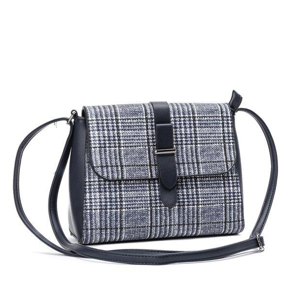 595084bf79d2b Granatowa torebka w kratkę zapinana guziczkiem- Torebki Kliknij, aby  powiększyć ...