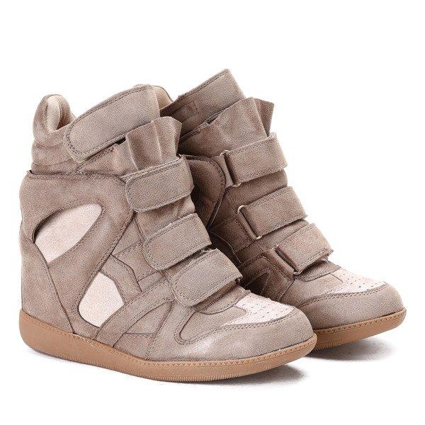 bc7aa24b9835e Jasnobrązowe sneakersy na koturnie Barbra - Obuwie - Brązowy ...