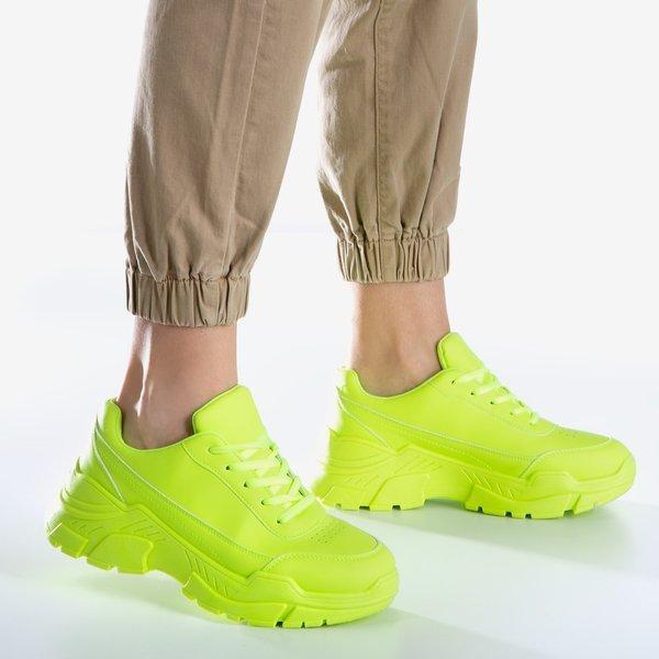 Neonowe Zolte Sneakersy Damskie Na Masywnej Podeszwie Lera Obuwie Zolty Neonowy Royalfashion Pl Sklep Z Butami Online