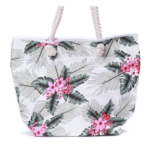 8f89f6bd75b02 Plażowa torba w kwiaty - Torebki - Biały || Wielokolorowe ...