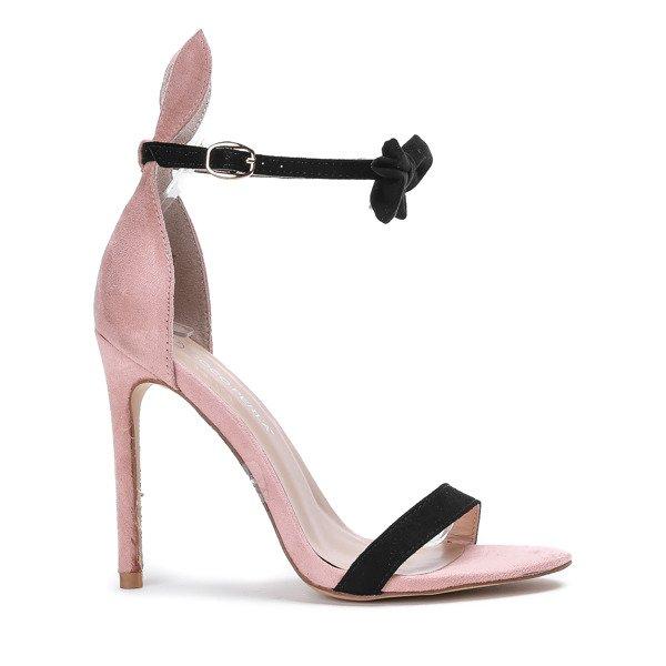1a5932dcf8a9d6 Różowe sandały na szpilce z czarną kokardką i uszami Poppy - Obuwie ...
