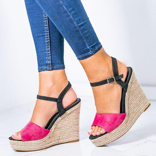 d271497726ebca Różowe sandały na wysokiej koturnie Belvia - Obuwie Kliknij, aby powiększyć  ...