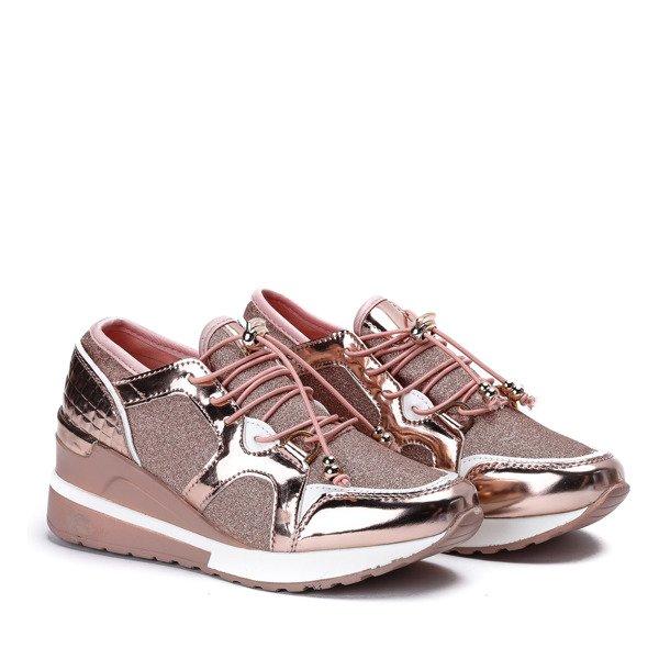 828b5ae961c64 Różowo - złote sportowe buty z metalicznym wykończeniem na niskiej ...