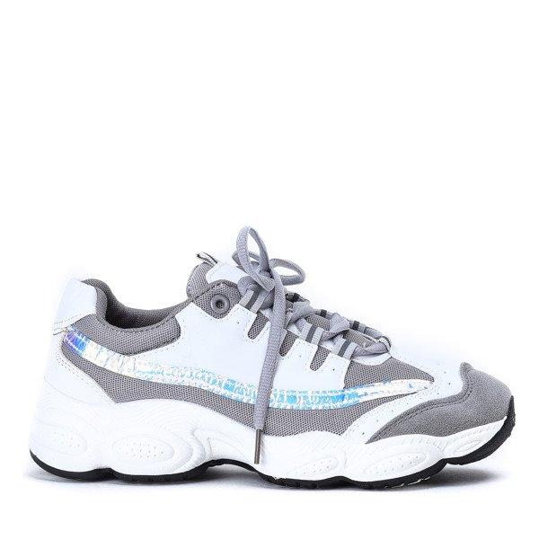 Szaro białe buty sportowe na grubszej podeszwie Celie Obuwie