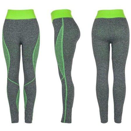 Szare getry z zielonymi wstawkami - Spodnie
