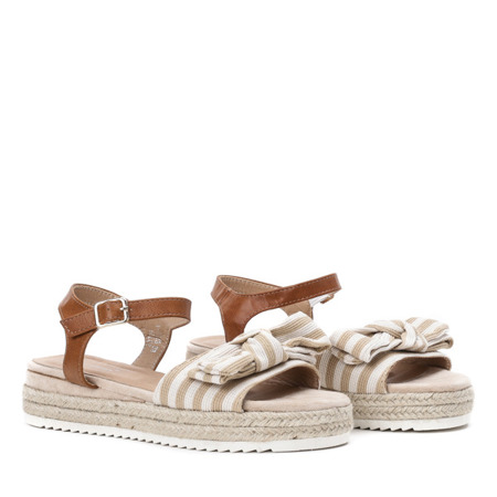 Beżowe sandały na platformie z kokardą Moguerra - Obuwie