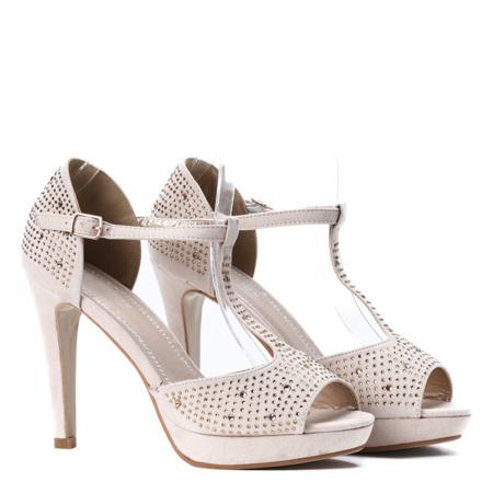 Beżowe sandały na platformie - Obuwie