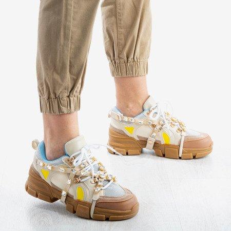 Beżowe sneakersy damskie na grubej podeszwie z kryształkami Olysseia - Obuwie