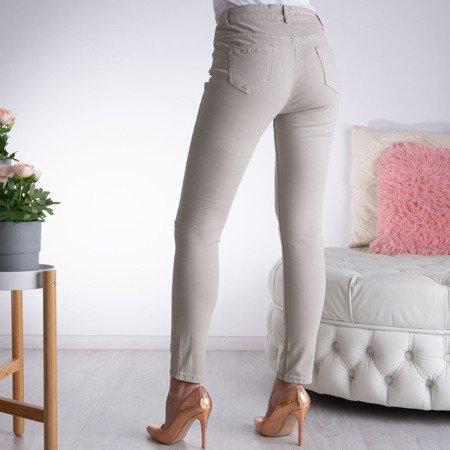 Beżowo szare rurki jeansowe - Spodnie