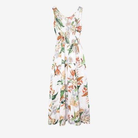 Biała maxi sukienka w kwiaty - Odzież