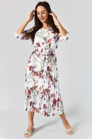 Biała plisowana sukienka w kwiatki - Odzież