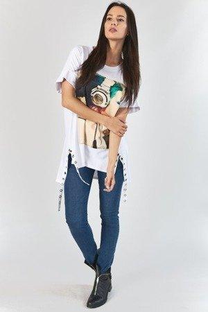 Biała tunika z zielonym nadrukiem - Odzież