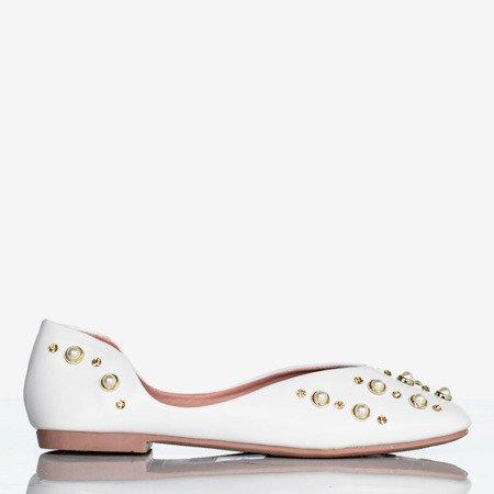 Białe baleriny damskie z perełkami Bustsa - Obuwie