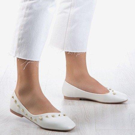 Białe baleriny damskie z perełkami Lovilla - Obuwie