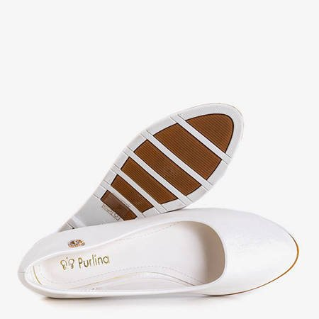 Białe baleriny z przypinką Fides - Obuwie