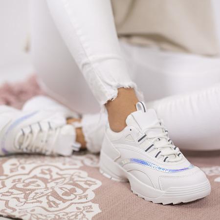 Białe buty sportowe na grubszej podeszwie z holograficznymi wstawkami Noren - Obuwie