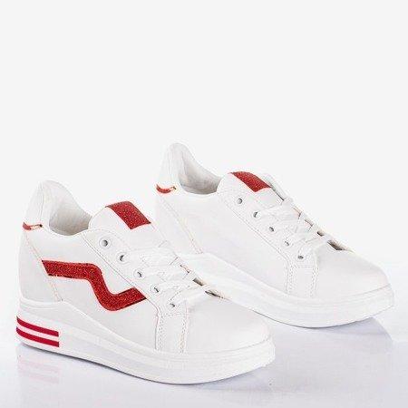 Białe buty sportowe na krytym koturnie z czerwonymi wstawkami Say It - Obuwie