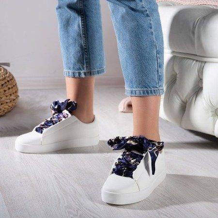 Białe buty sportowe sznurowane wstążką Duet - Obuwie