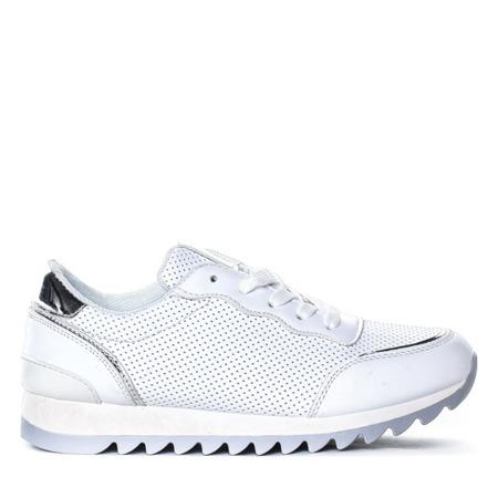 Białe buty sportowe z ażurowaną cholewką Kira - Obuwie