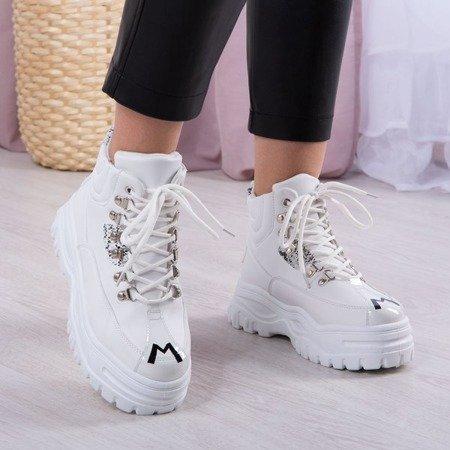 Białe buty sportowe z wysoką cholewką Jean Obuwie