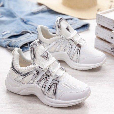 Białe buty sportowe ze srebrnymi wstawkami Irrmessia - Obuwie