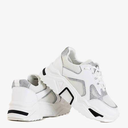 Białe damskie sneakersy ze srebrnym brokatem Happier - Obuwie