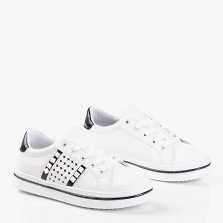 Białe damskie tenisówki z czarnym wykończeniem Celovi - Obuwie