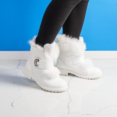 Białe dziewczęce botki z futerkiem Neve - Obuwie