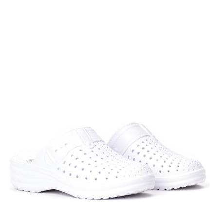 Białe gumowe klapki Sardo - Obuwie