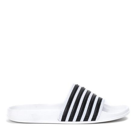 Białe klapki w czarne paski Seganea - Obuwie