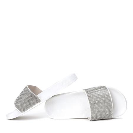 Białe klapki z cyrkoniami Lunea - Obuwie