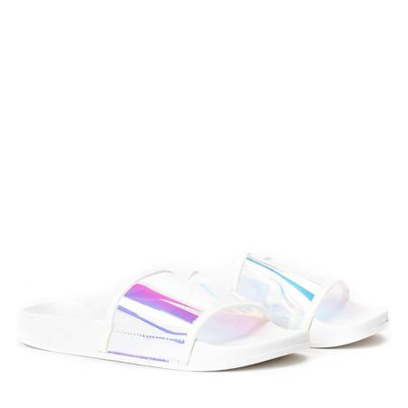 Białe klapki z holograficznym paskiem Active - Obuwie