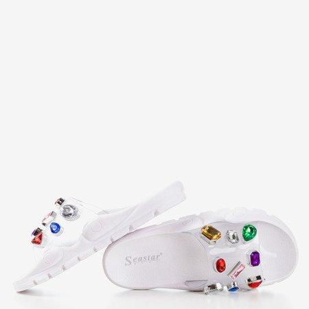 Białe klapki z kamyczkami Tamarice - Obuwie