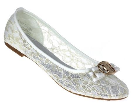 Białe, klasyczne baleriny z kokardką - Obuwie