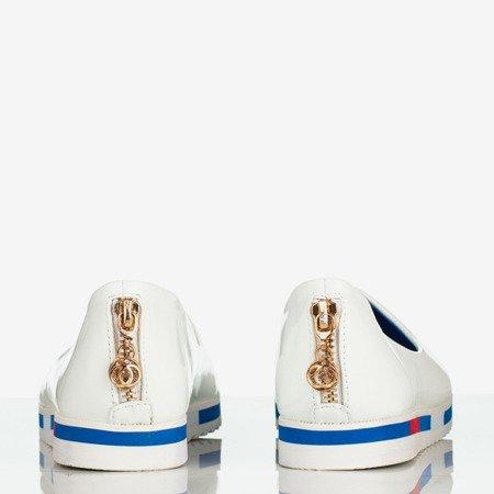 Białe lakierowane baleriny damskie Brigid - Obuwie