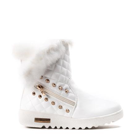 Białe, ocieplane śniegowce Thera - Obuwie