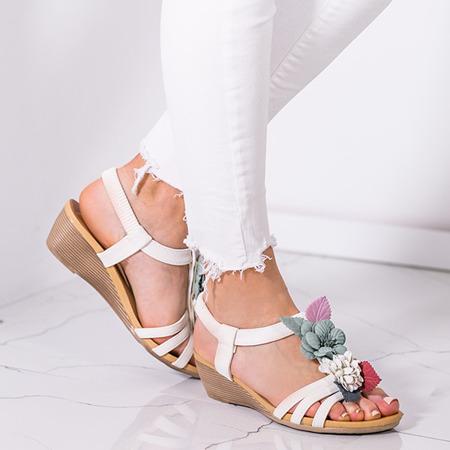 Białe sandały na koturnie z ozdobnymi kwiatkami Dormina - Obuwie