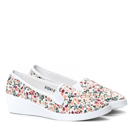 Białe slip on w kwiatki Eluya- Obuwie
